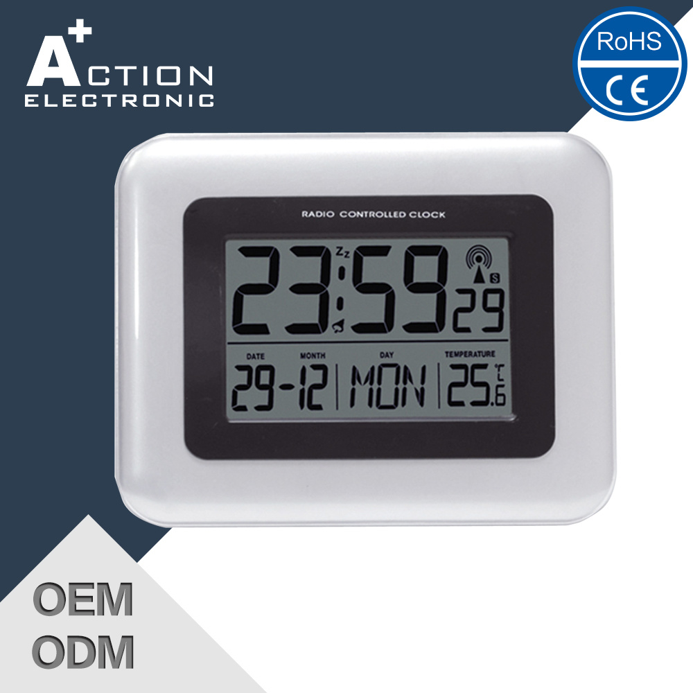 China Digital Dcf Radio Controlled Wall Clock Battery Operated