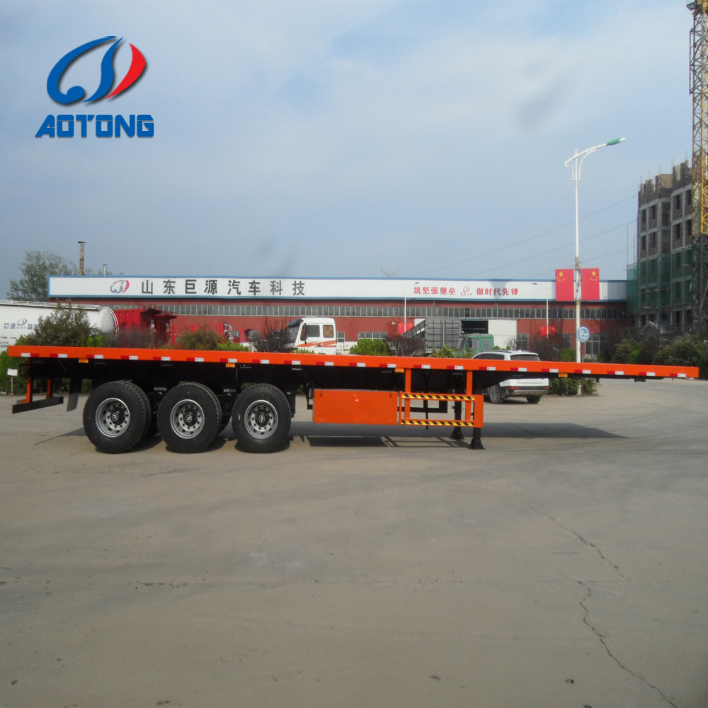 Flat Deck Trailer >> Hot Item Tri Axles 2 20ft Container Flat Deck Trailer For Congo