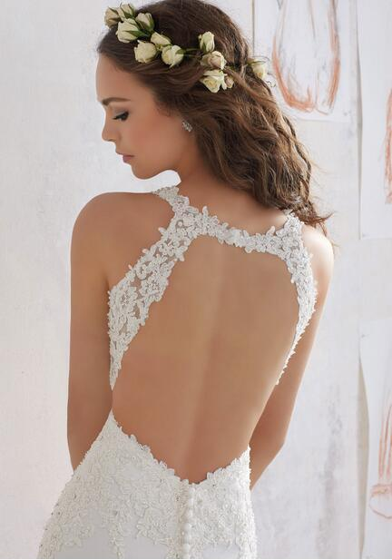 Sheath Sleeveless Keyhole Back Lace Bodice Chapel Train Wedding Bridal Dress Gown pictures & photos