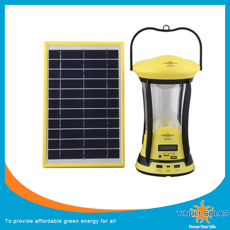 Integrated Flip Solar Panel Camping Light with USB Charger