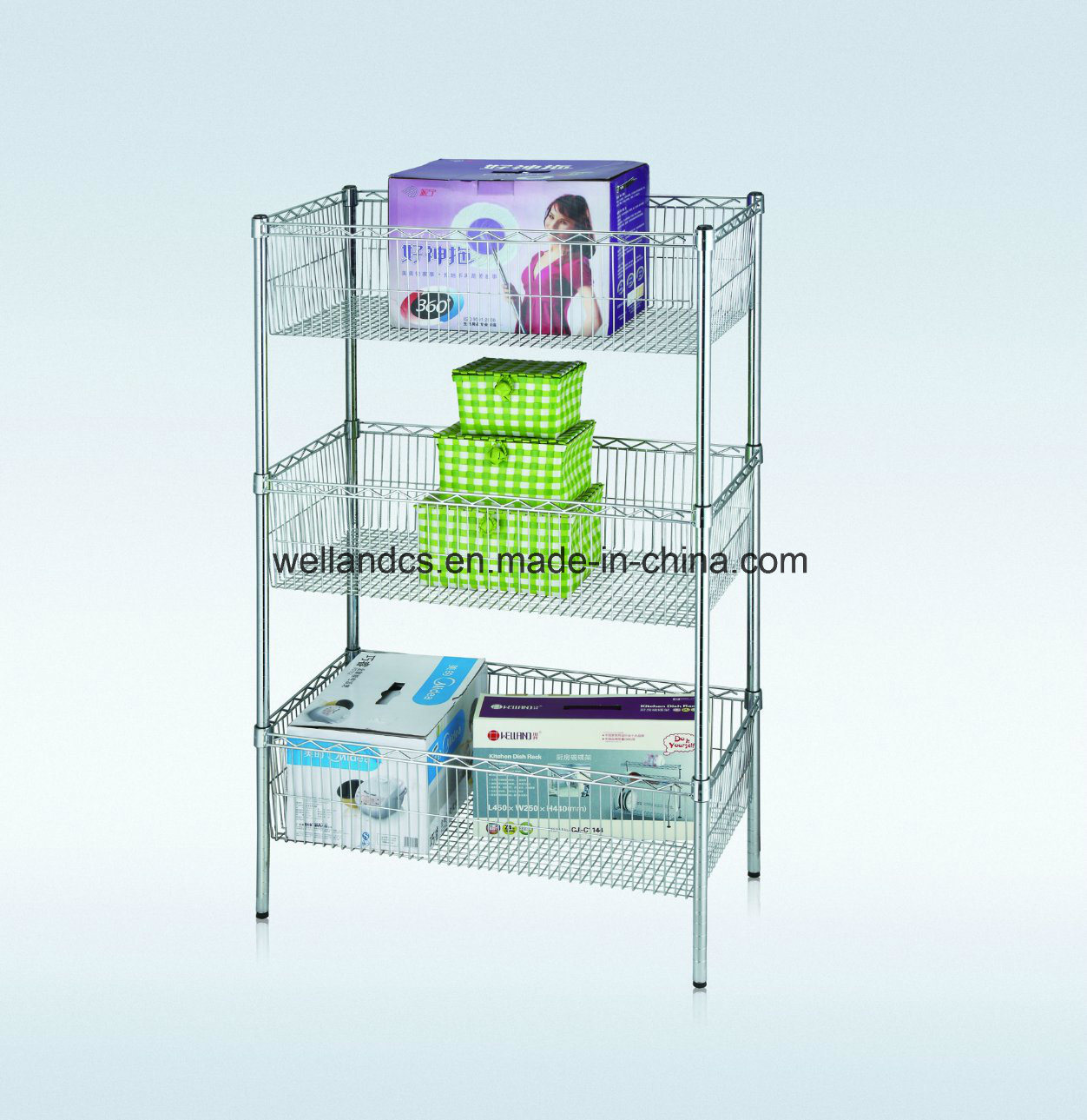 China 3 Tiers Chrome Metal Wire Basket Rack for Commercial ...