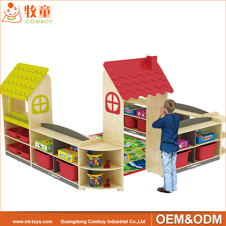 China Kindergarten Furniture MDF Toy Storage Cabinet For Preschool