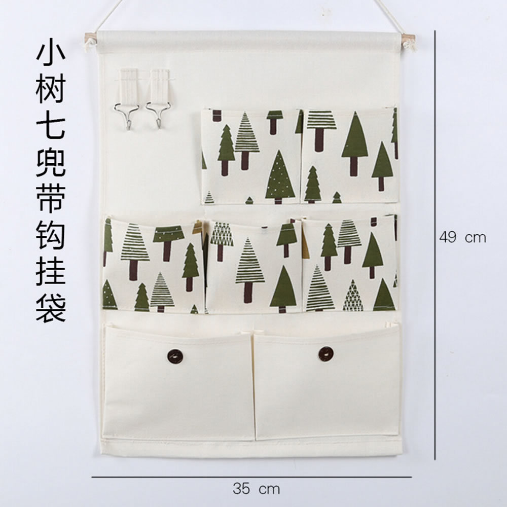 Fashion Cotton 7 Pockets Wall Hanging Organizer With Wood Pole