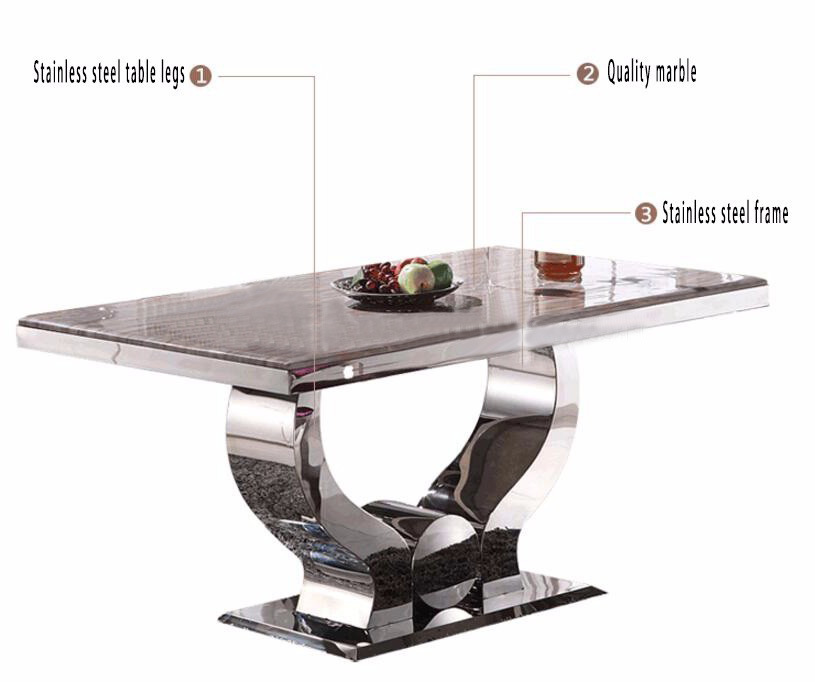 China Acrylic Rectangle Stainless Steel Hotel U0026 Restaurant Dining Table And  Chairs   China Dining Table Set, Dining Set