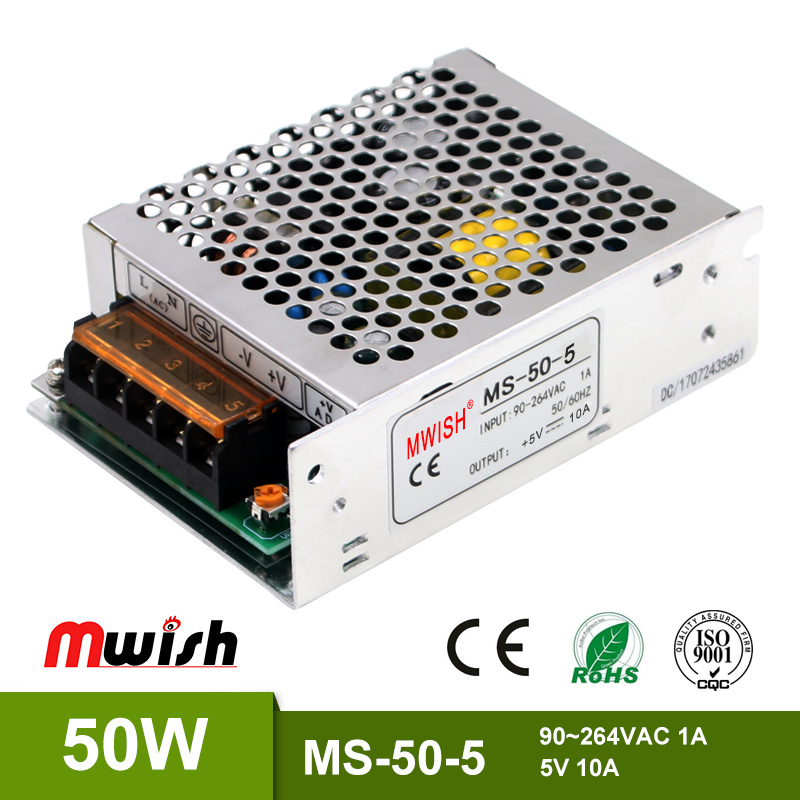 China Factory Price 50W Mini Size SMPS 5V 10A Regulated Power Supply ...