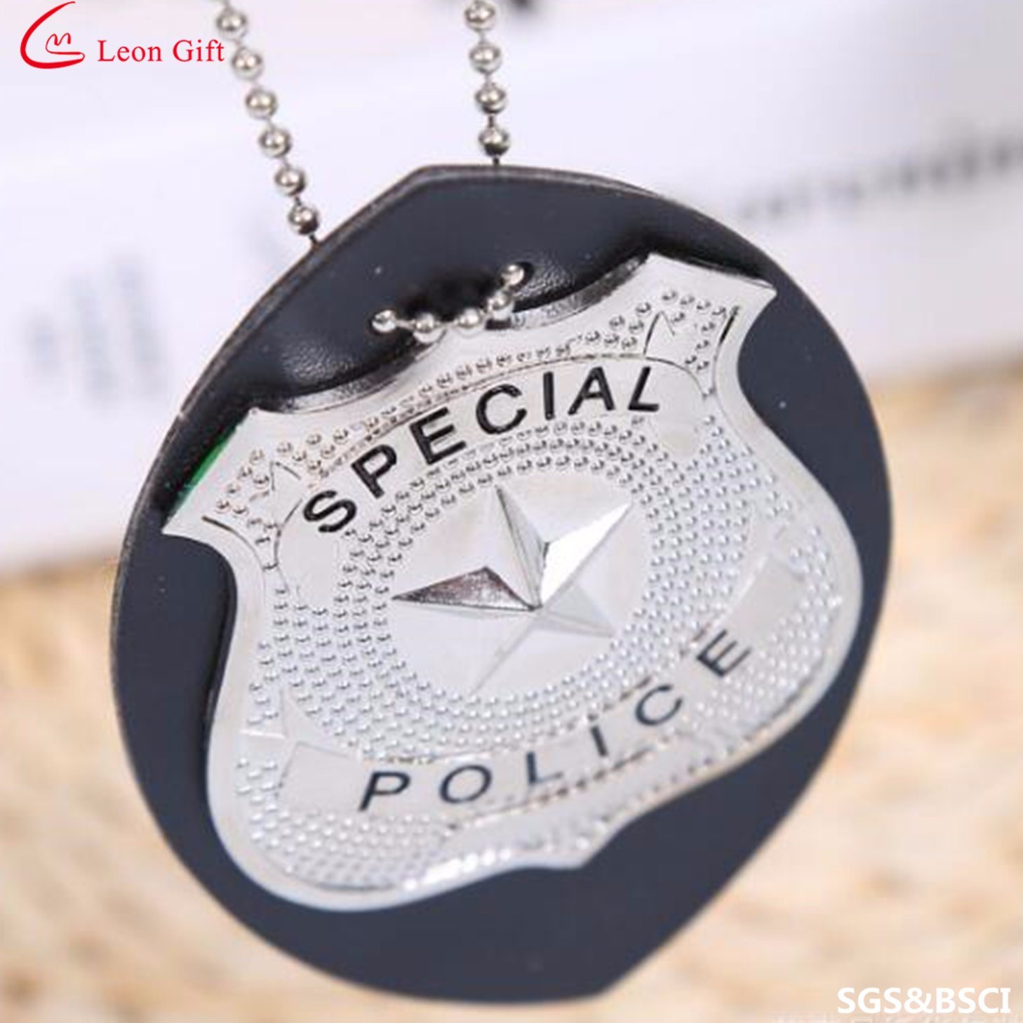 strong clip standard chain recessed holder badge with police pendant on