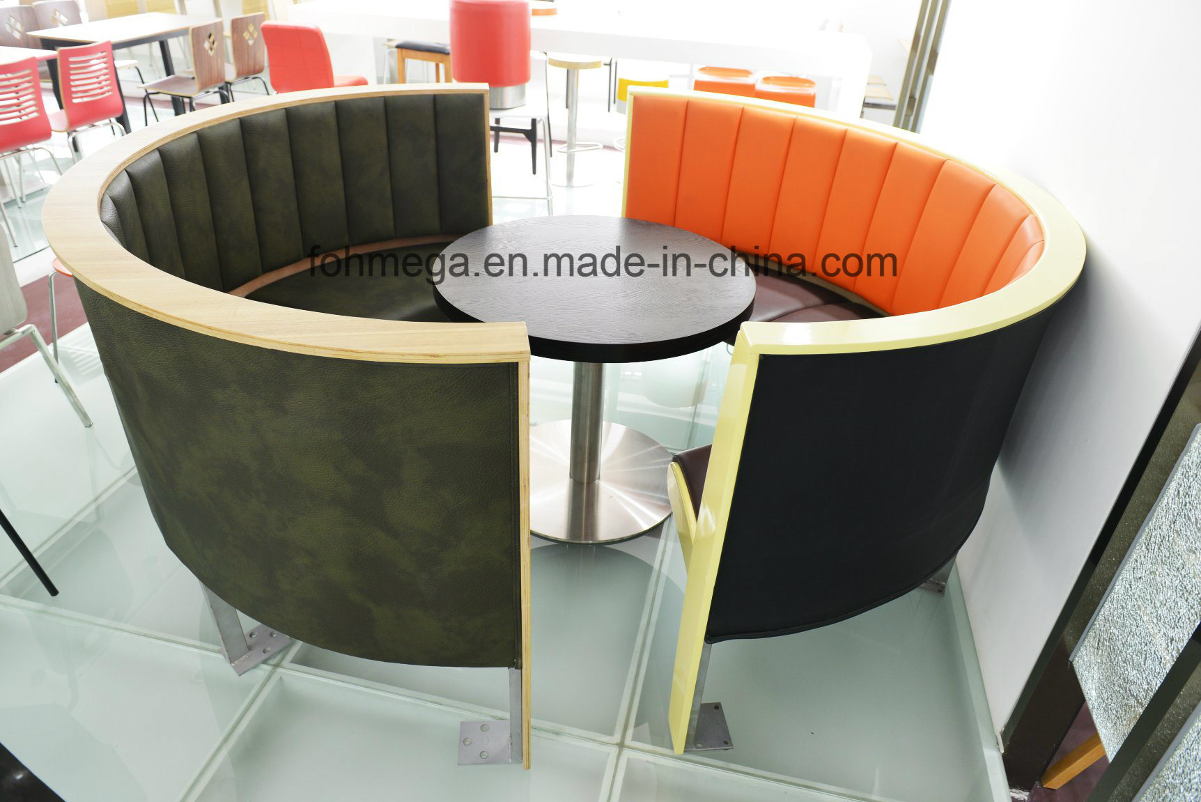 China Round Shape Customized Size Sofa Booth Seating For Cafe Shisha Couch