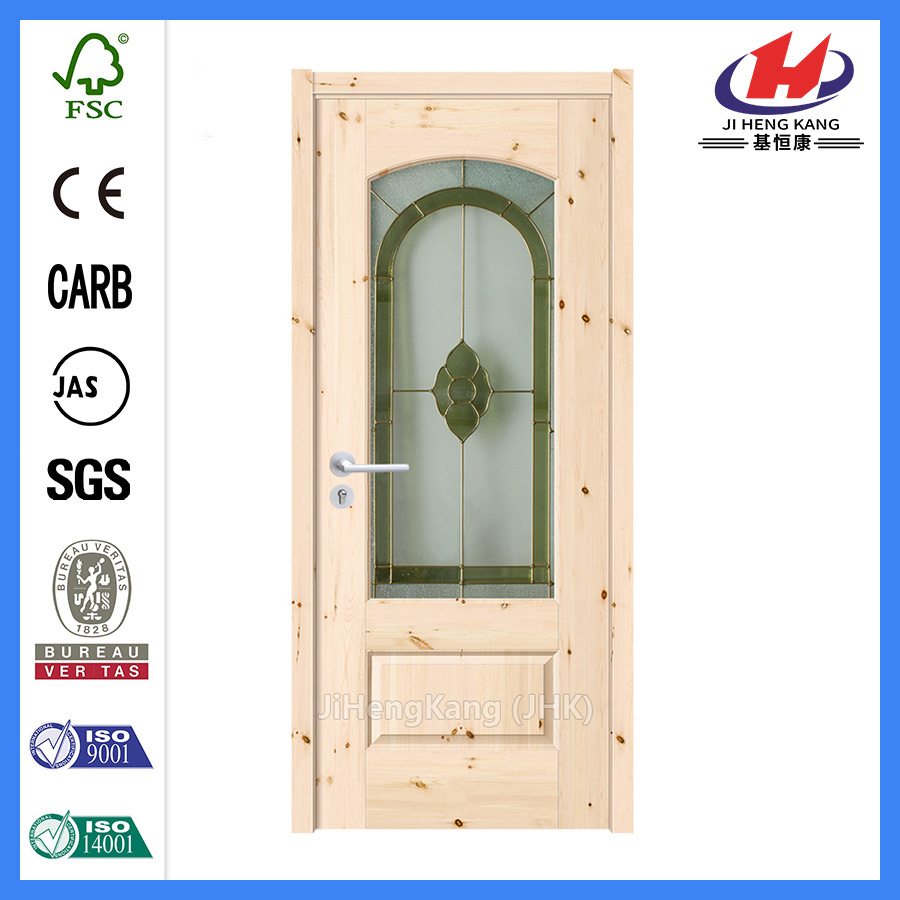 China 6 Panel Solid Wood Slab White Glazed Interior Glass Doors Jhk