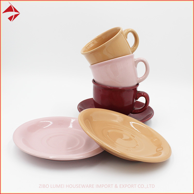 China Ceramic Color Glazed Coffee Tea Set Square Cups With Saucers Cup Promotional Mug