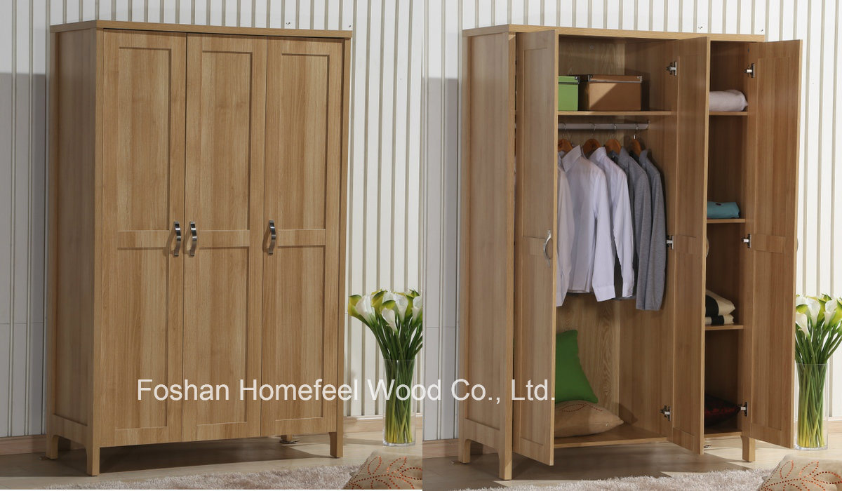 Durable Bedroom 3 Doors Wood Wardrobe Closet Furniture
