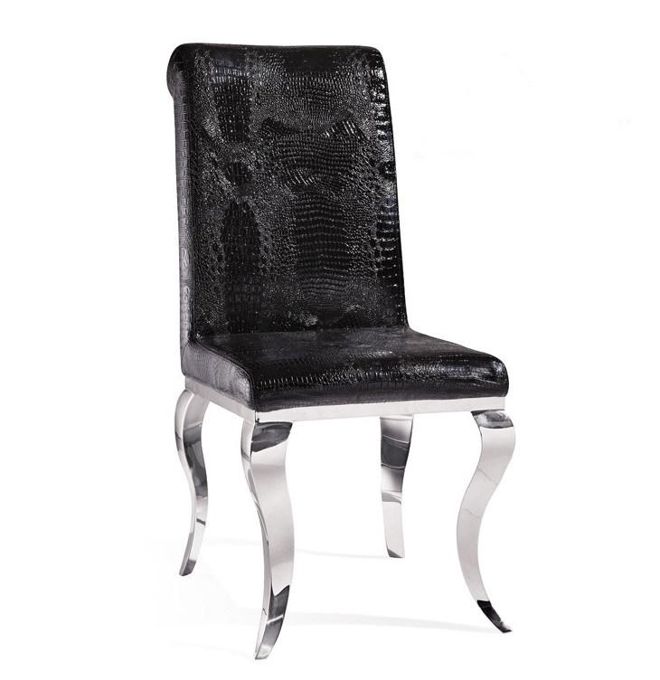 Cool Hot Item Modern Black Crocodile Leather Rococo Style Steel Dining Chair 018 Creativecarmelina Interior Chair Design Creativecarmelinacom