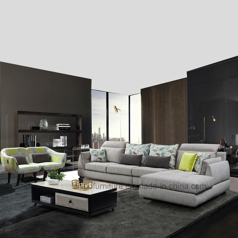 China Contemporary Elegant Design Gray Home Furniture Corner Fabric Sofa    China Living Room Furniture Sofa, Sofa Set