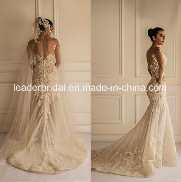 47186ea3e656 China Sheer Lace Bridal Gowns Mermaid Long Sleeve Backless Wedding Dresses  Dz81 - China Wedding Dress, Bridal Dress