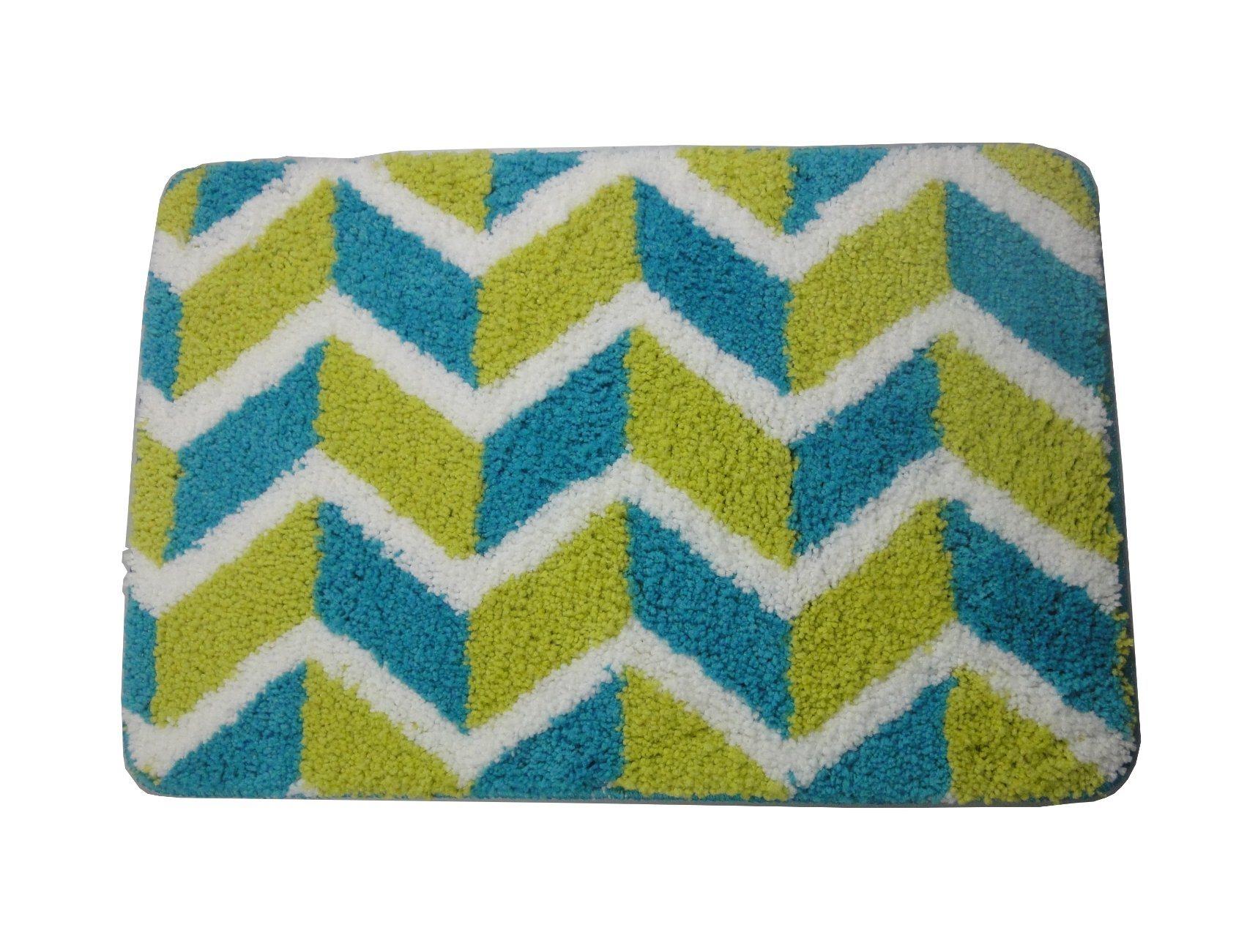 China Design Bathroom Rug Non-Slip Bath Mat for Floors Green & Cream ...