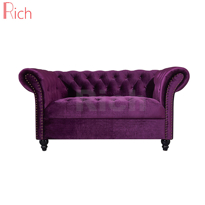 China Living Room Furniture Velvet Chesterfield Sofa Set With Ons