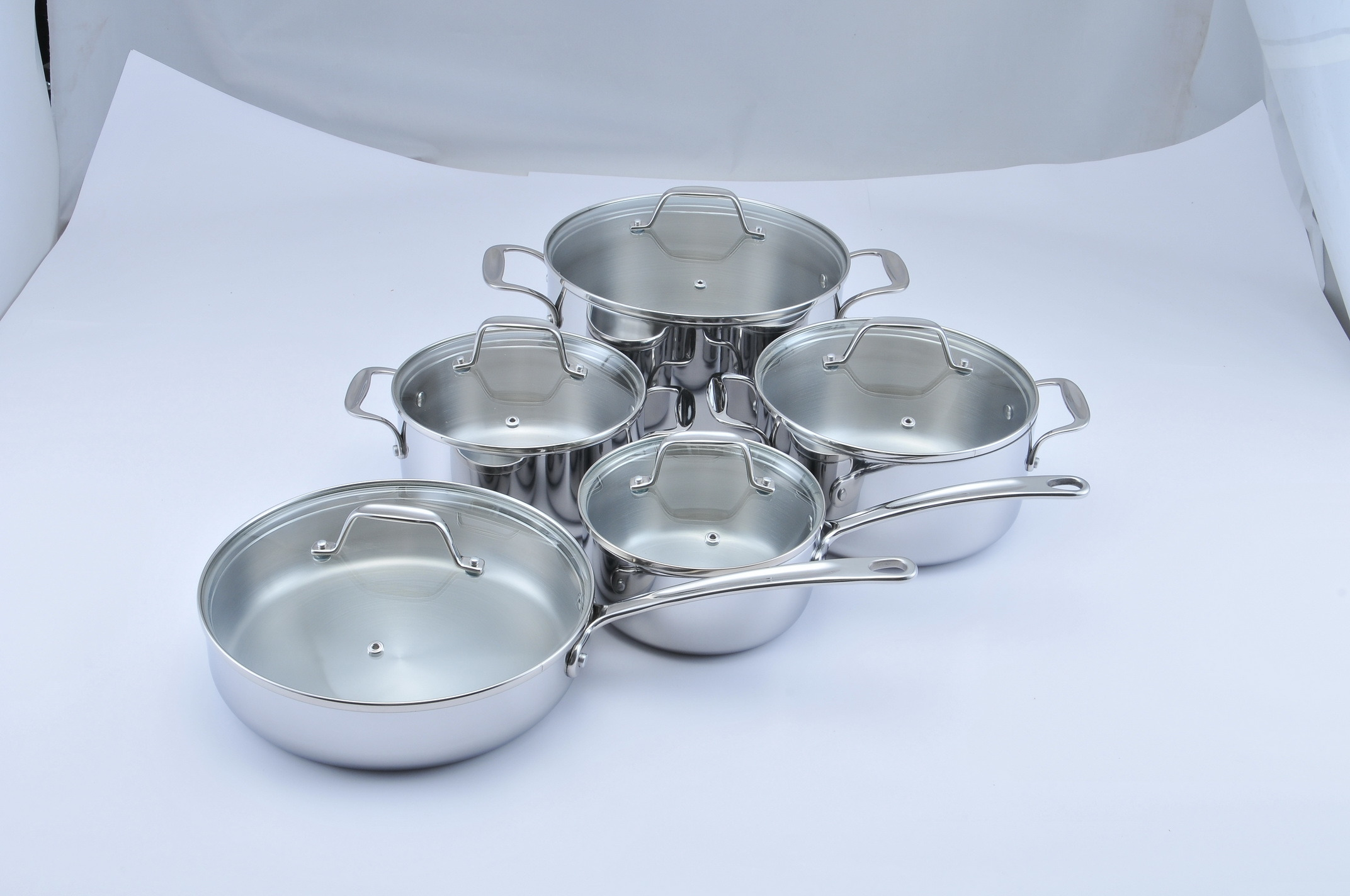 China 5PCS -Stainless Steel Cook Pot Set, with Glass Lid, Suitable ...