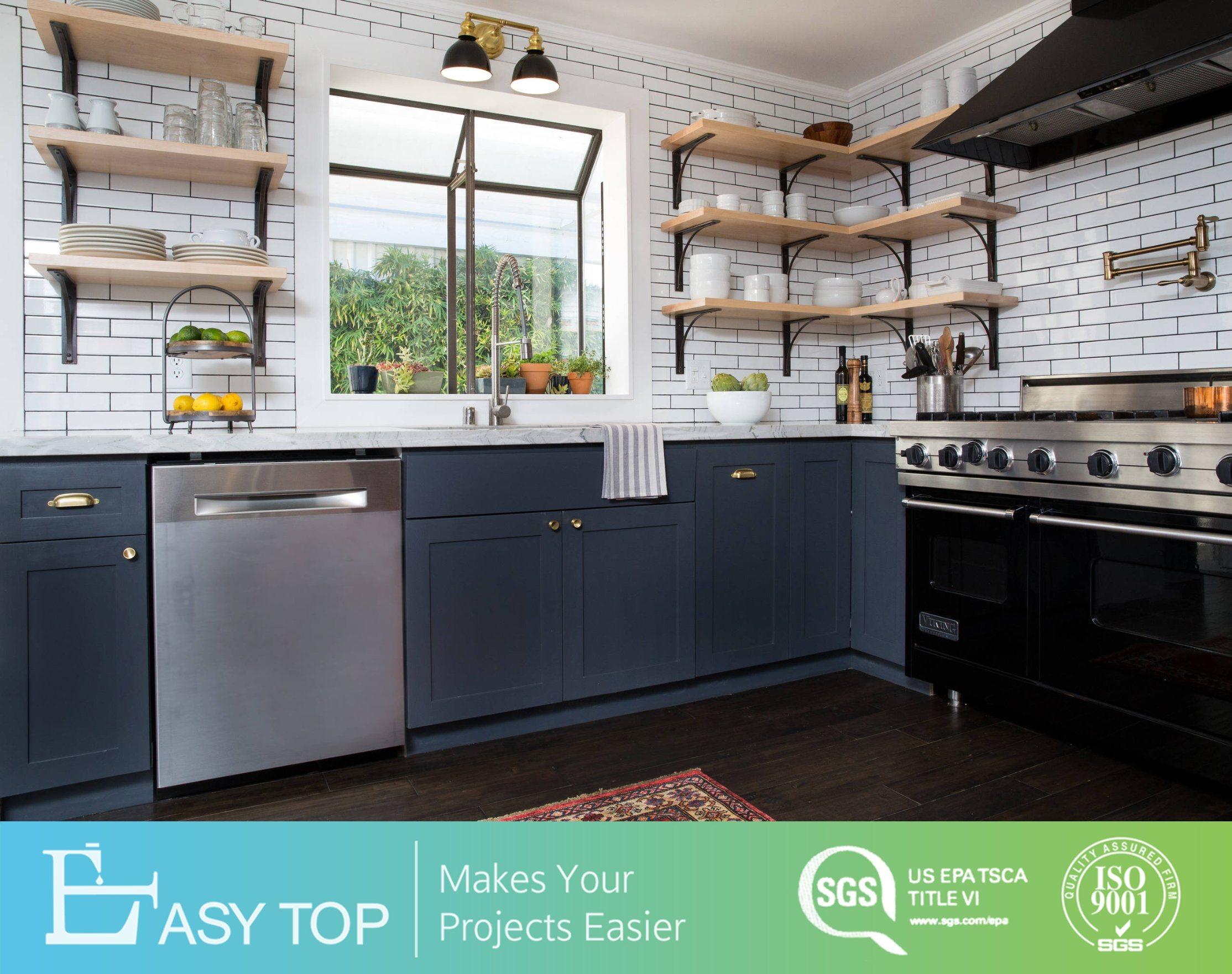 Hot Item Modern Small Island Grey Pvc Membrane Kitchen Cabinets