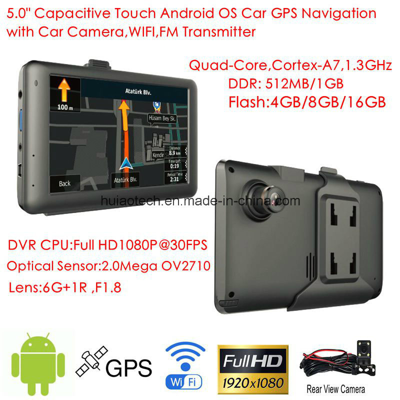 [Hot Item] 2018 5 0inch Android 6 0 Quad-Core  1 5GHz Tablet PC with Car  GPS Navigation, FHD1080p Car DVR, AV-in Rear Parking Camera