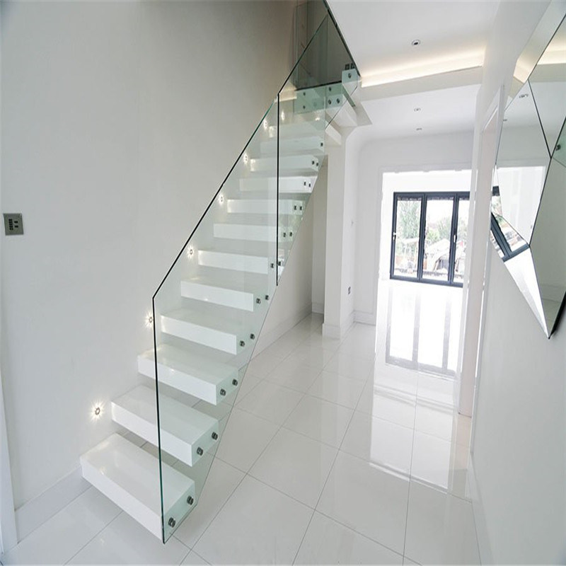 White Floating Staircase With One Side Gl Railing