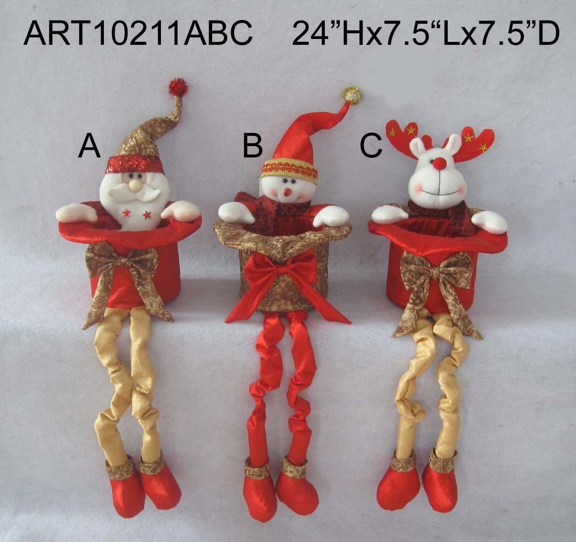 Standing Christmas Toys with Gifts, 3 Asst