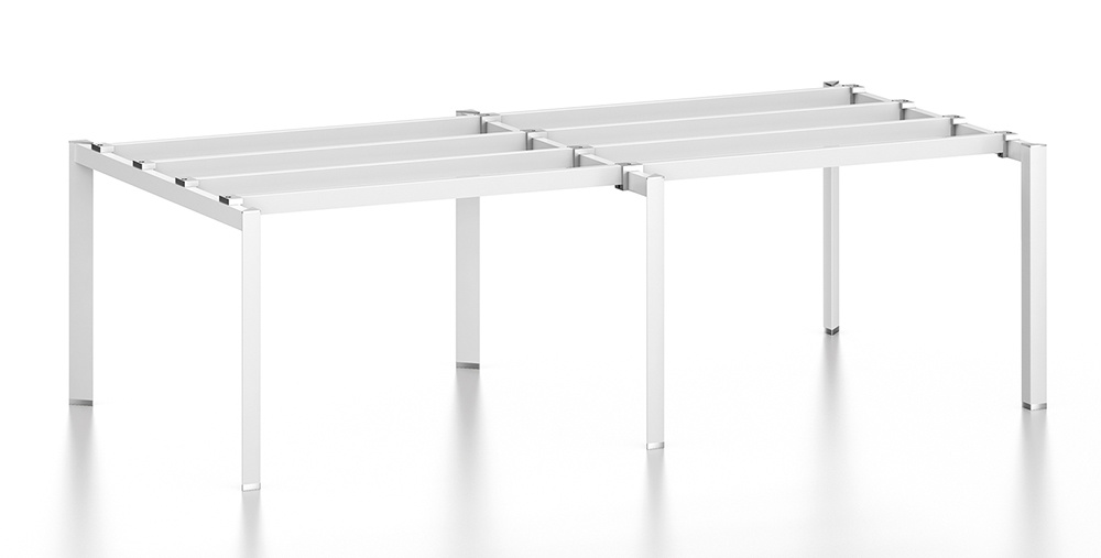 China White Customized Metal Steel Office Staff Workstation Desk Frame With Ht05 3 Workstaion Table Leg