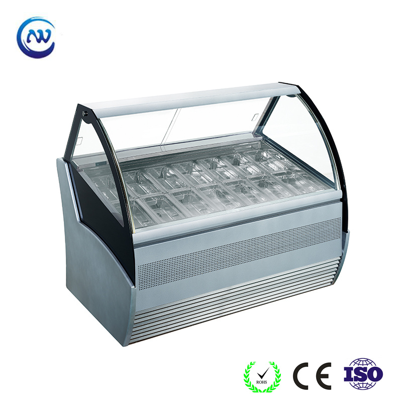 China Tempered Curved Glass Ice Cream Refrigerator Counter Gelato Freezer Showcase Qd Bb 16