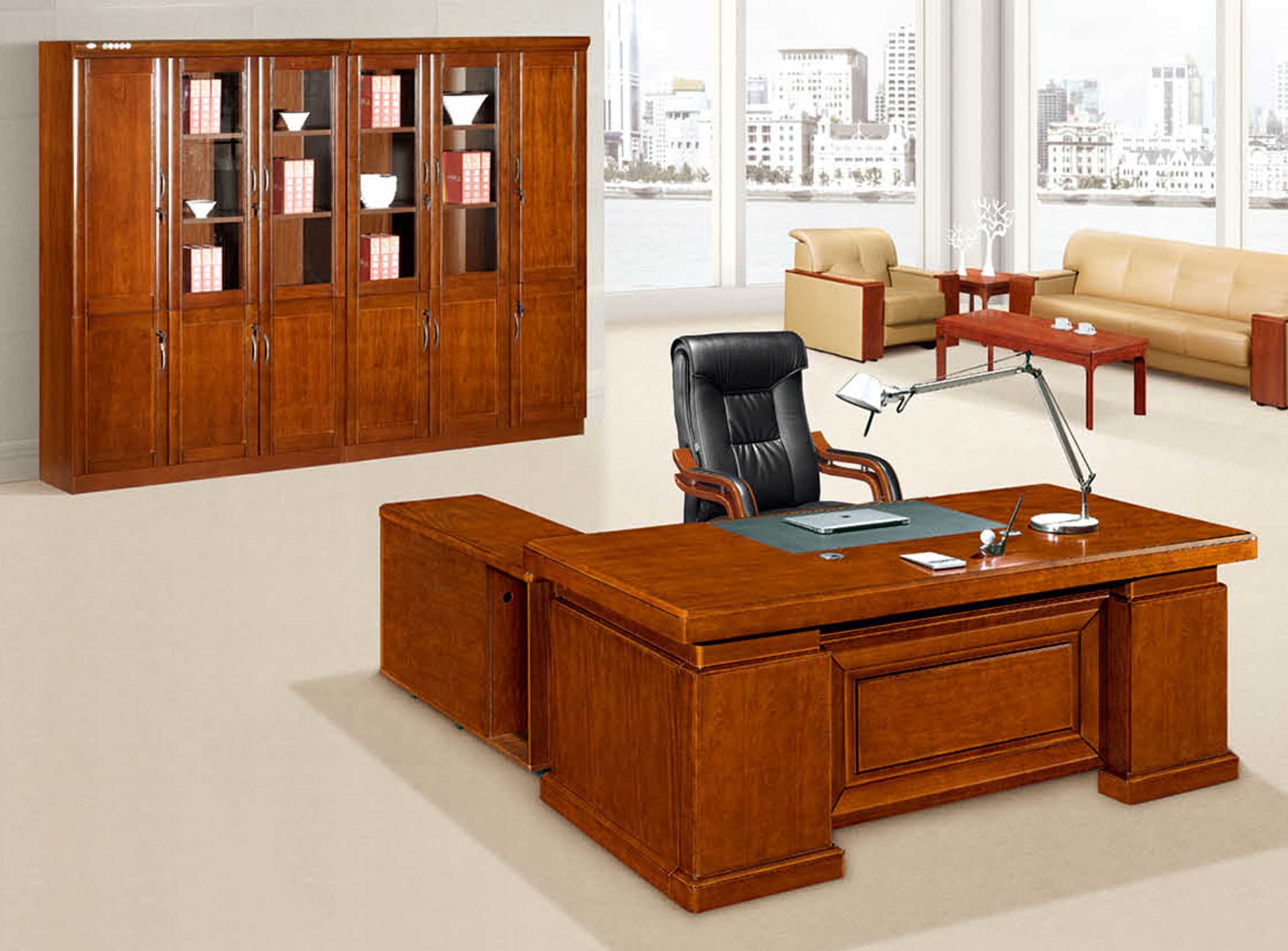 Antique Solid Wood Desk Luxury Office Computer Table