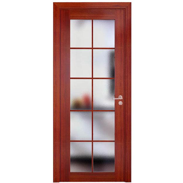 China Modern Cherry Glass Interior Doors With Wood Frame
