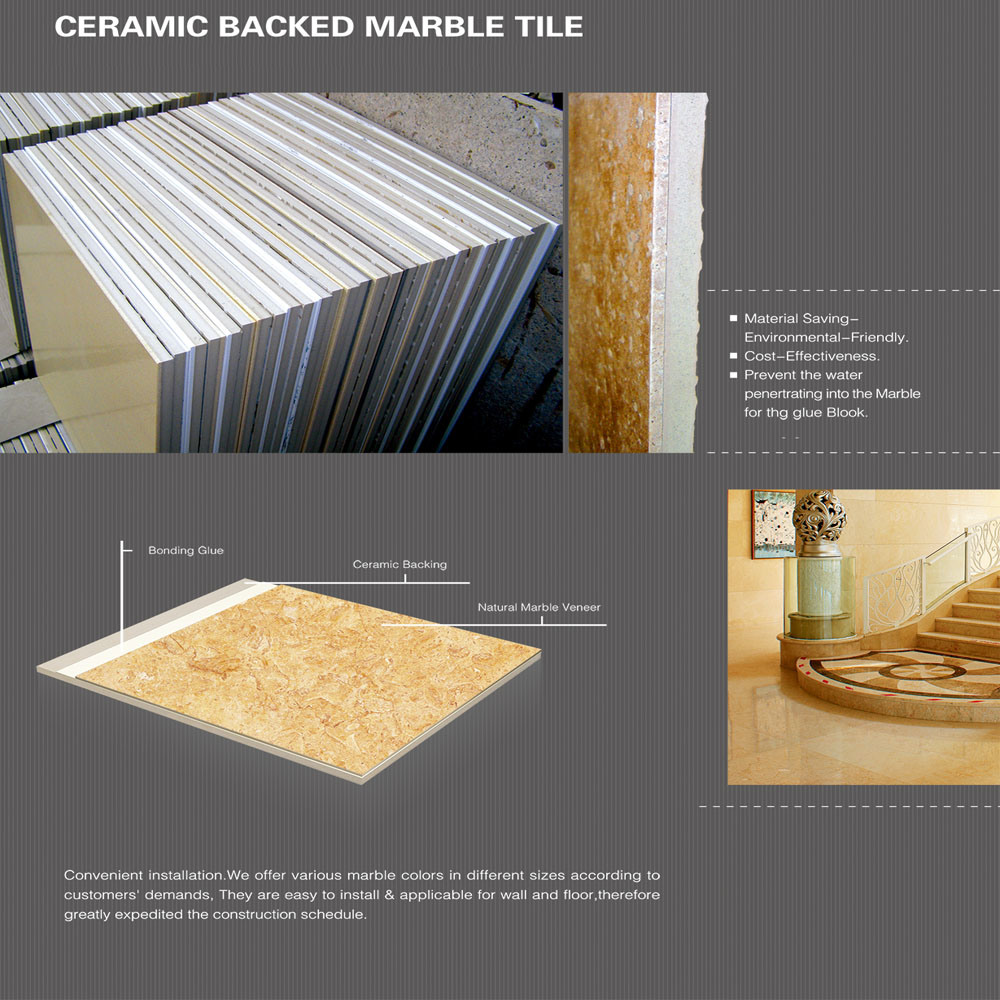 Stone Panels Ceramic Backed Marble Tile