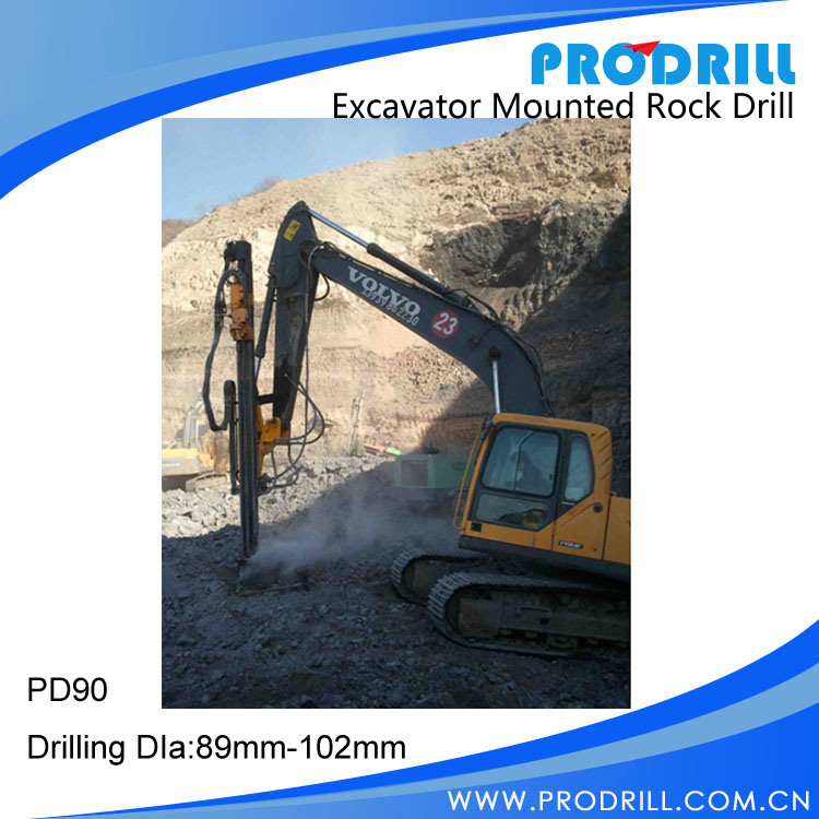 Hydraulic Excavator Mounted Rock Drilling Rig for Borehole Drilling pictures & photos