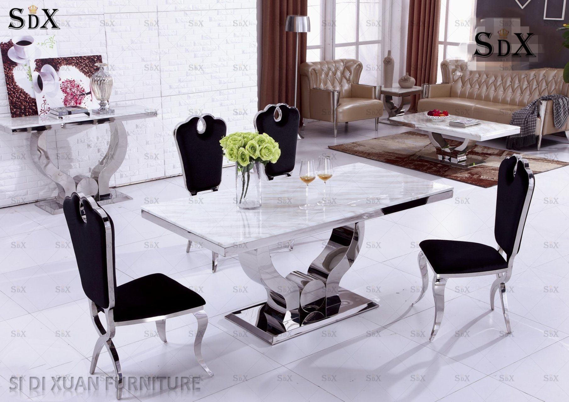 China Modern Glass Dining Room Furniture Set Dining Table With 6 Chairs China Table Dining Table