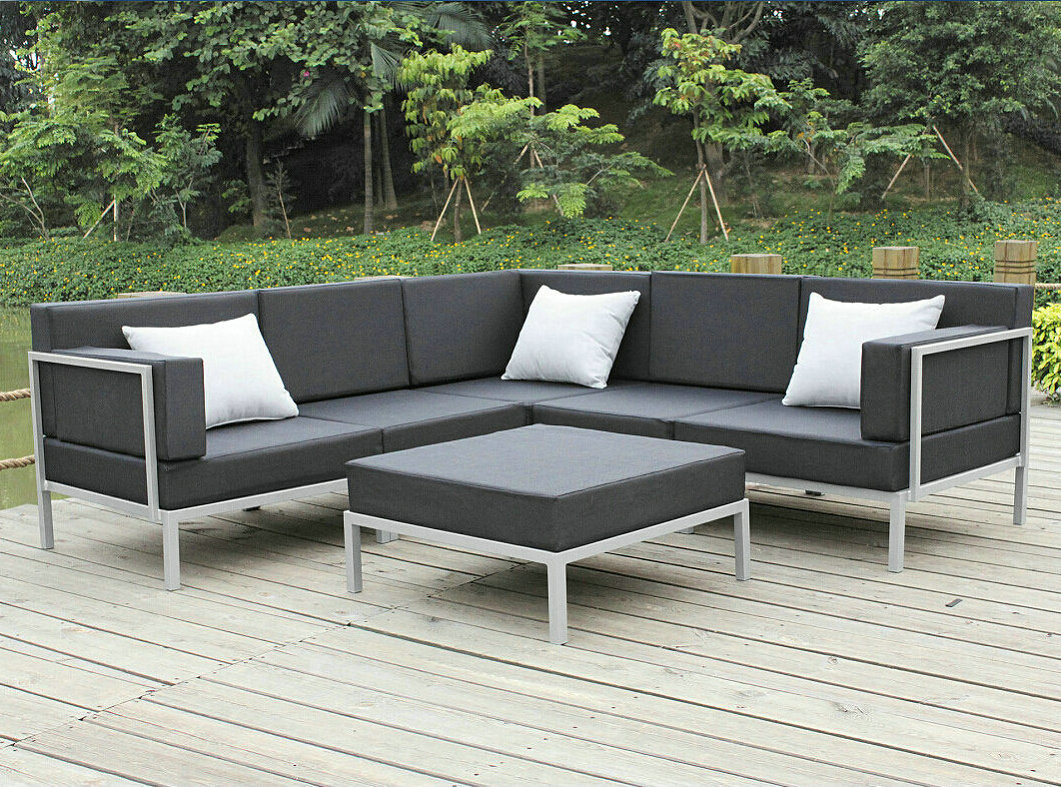 china casual selectional metal sofa set aluminum outdoor. Black Bedroom Furniture Sets. Home Design Ideas