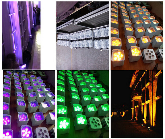 PAR Light Wedding Uplight for 6X18W RGBWA+UV Wireless DMX LED Flat PAR Battery Powered LED PAR pictures & photos