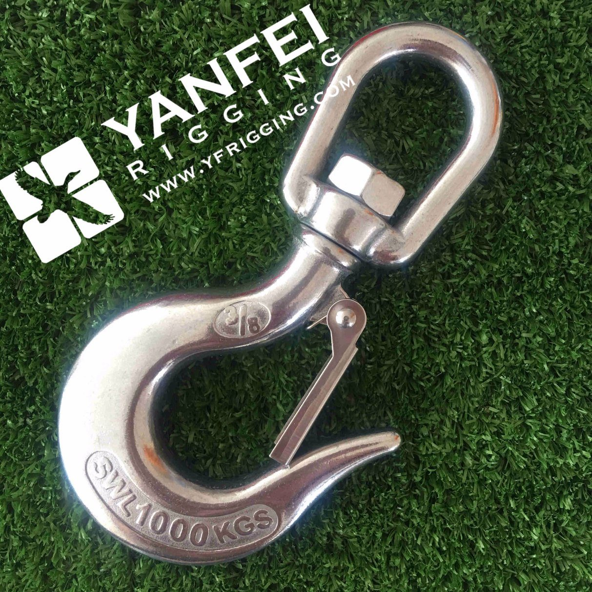 Chain Gear 8MM Stainless Steel Eye Type Sling Hook With Safety Catch