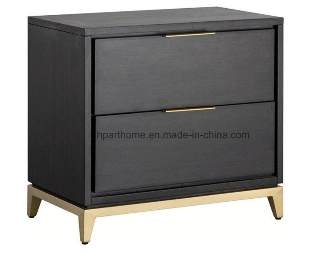 China made of acacia wood veneer smoked grey brown finish nightstand china pine wood nightstannd metal nightstand