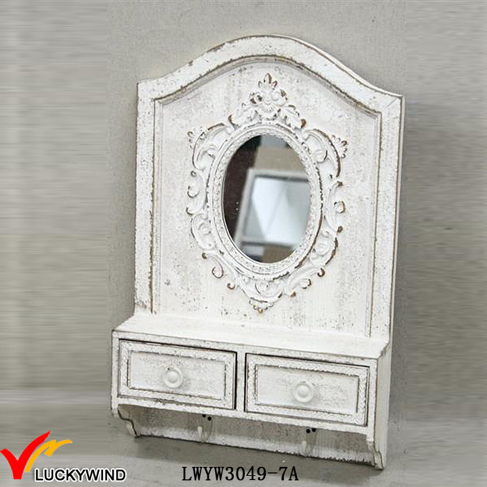 China 2 Drawers Hooks Solid Wood Retro White Rustic Mirror With Shelf Wall Mirrors
