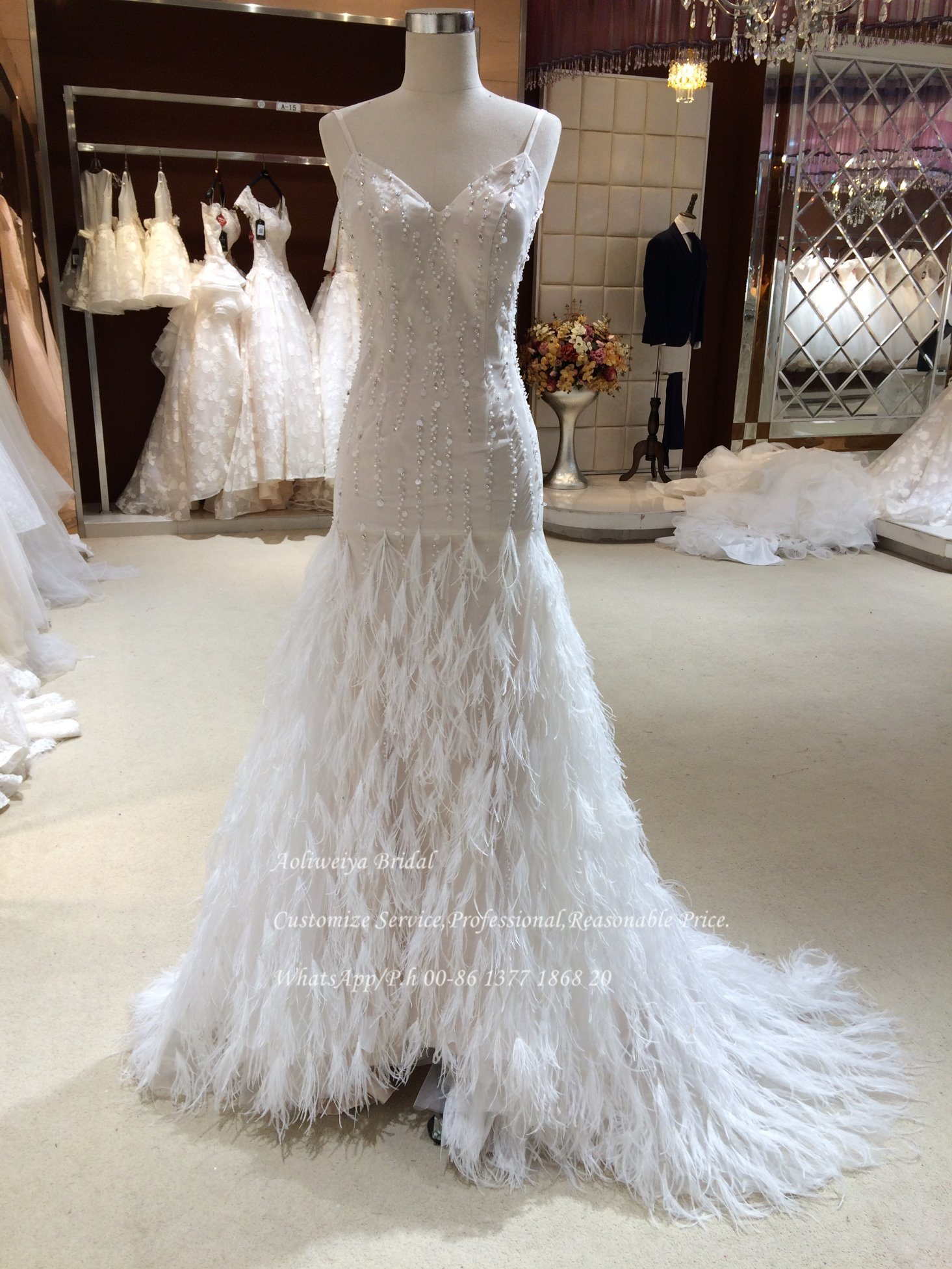 China Aoliweiya Bridal Feather Trumpet Wedding Dress China Wedding