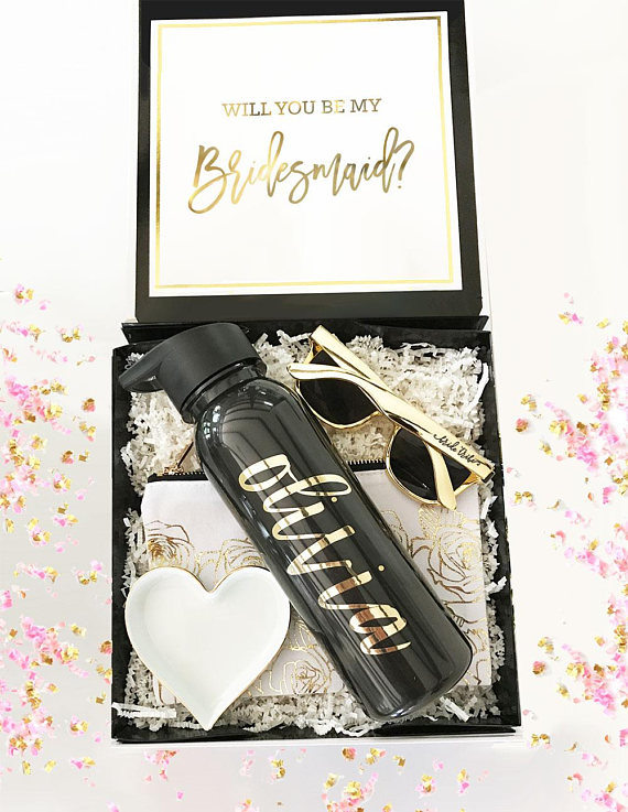 China Maid Of Honor Empty Wedding Gift Black Bridesmaid Proposal Box With Gold Foil China Bridesmaid Proposal Box And Empty Gift Box Price