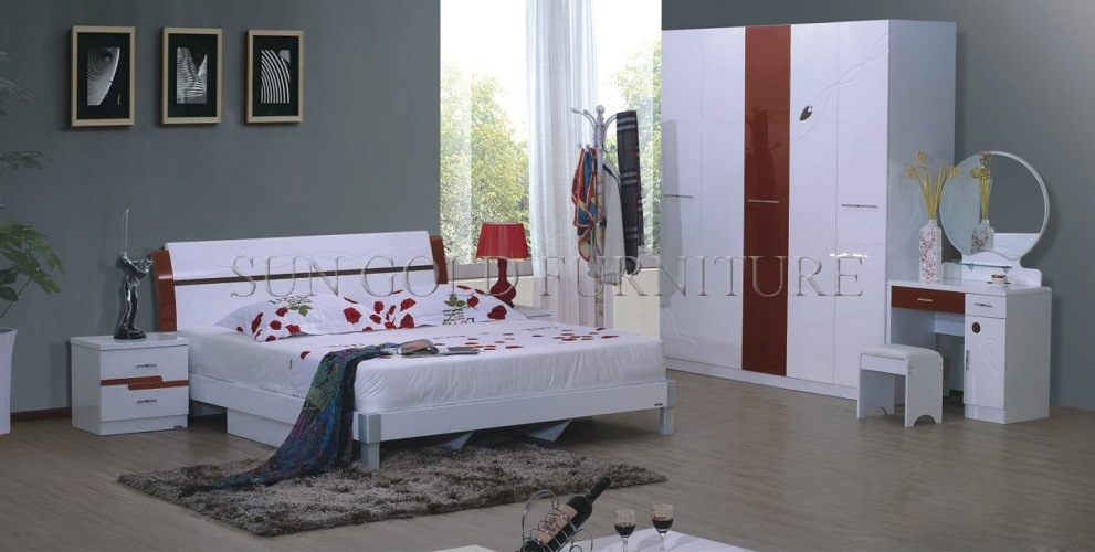 [Hot Item] Modern High Gloss Antique White Bedroom Sets (SZ-BF077)