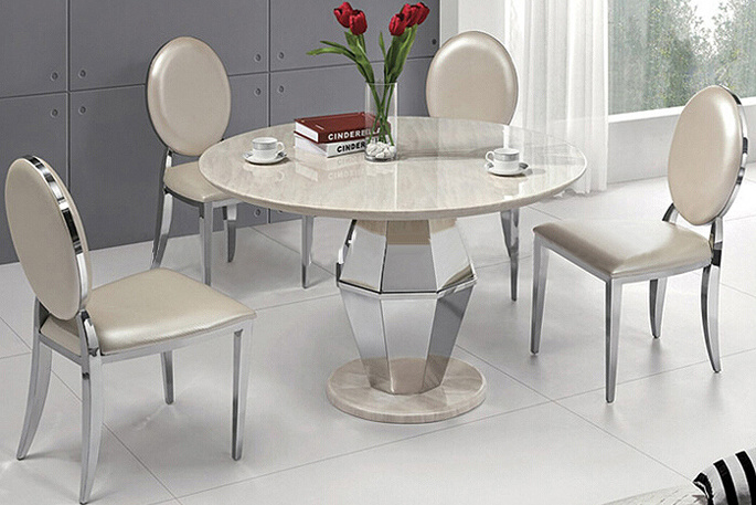 Round White Marble Top Stainless Steel