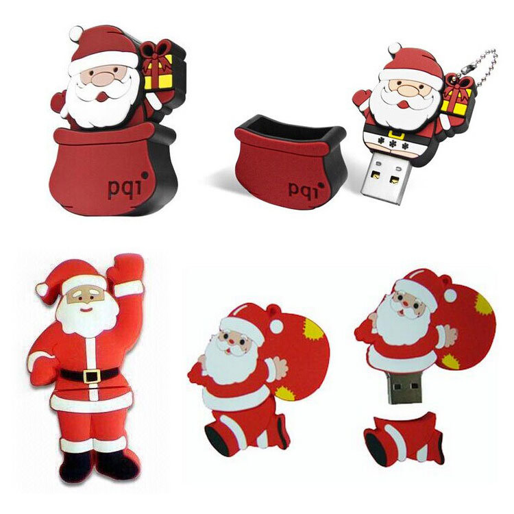 Hot Item Holiday Shaped Christmas Gift Custom Pvc Santa Claus Usb Disk