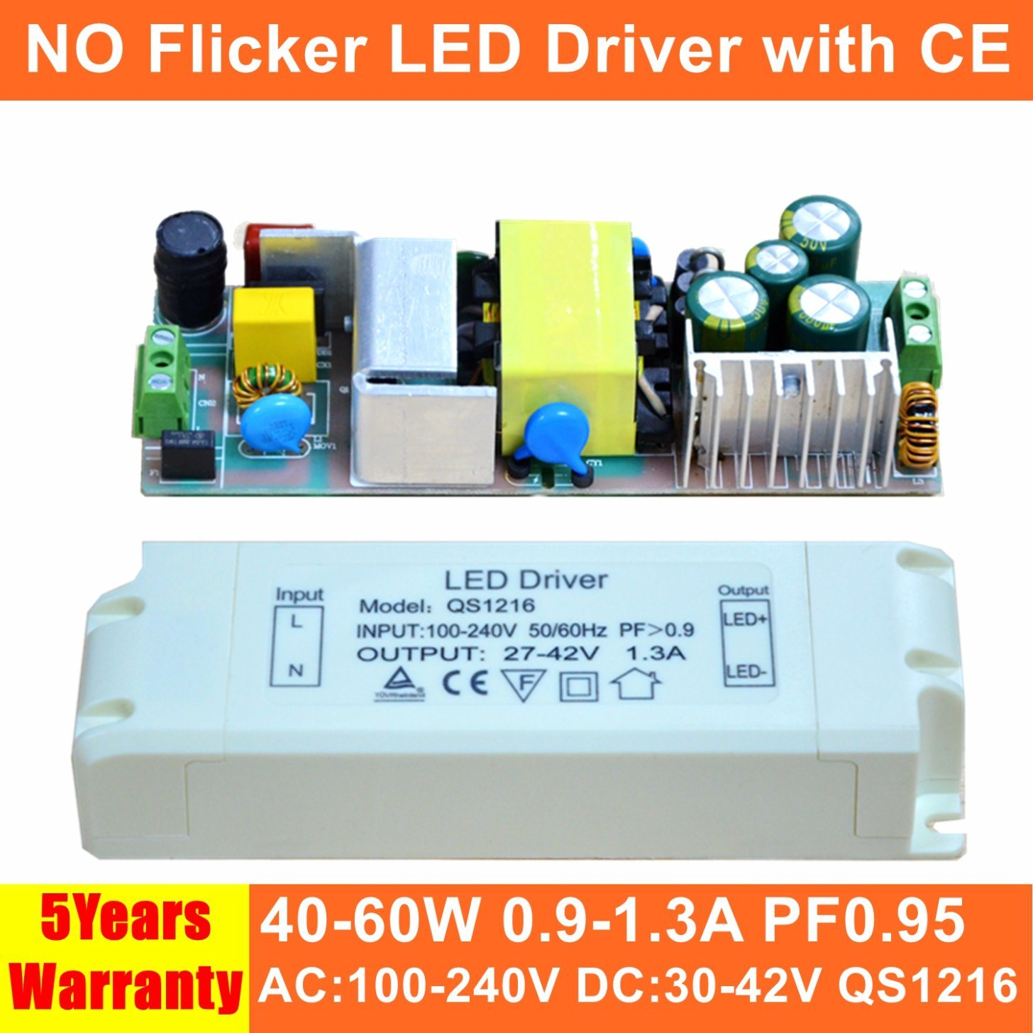 China 40 60w No Flicker Panel Light Led Power Supply With Ce Qs1216 Circuit Driver Switch