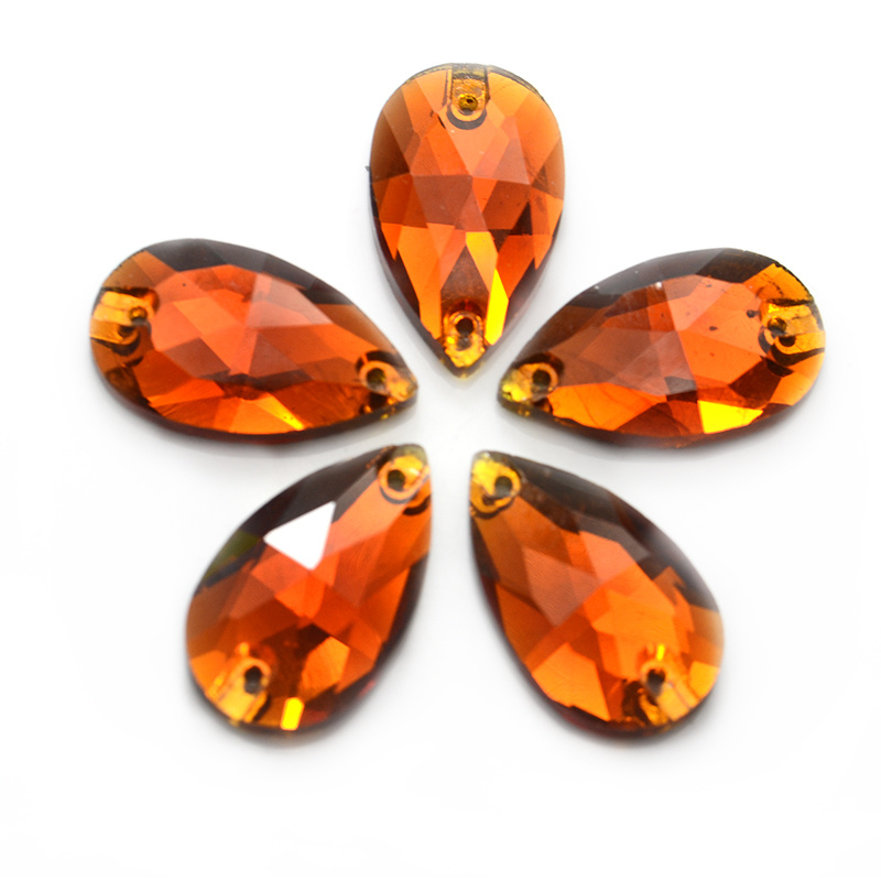 Gold Sew On Crystal Faceted glass flatback oval//teardrop Rhinestone Jewels Gems