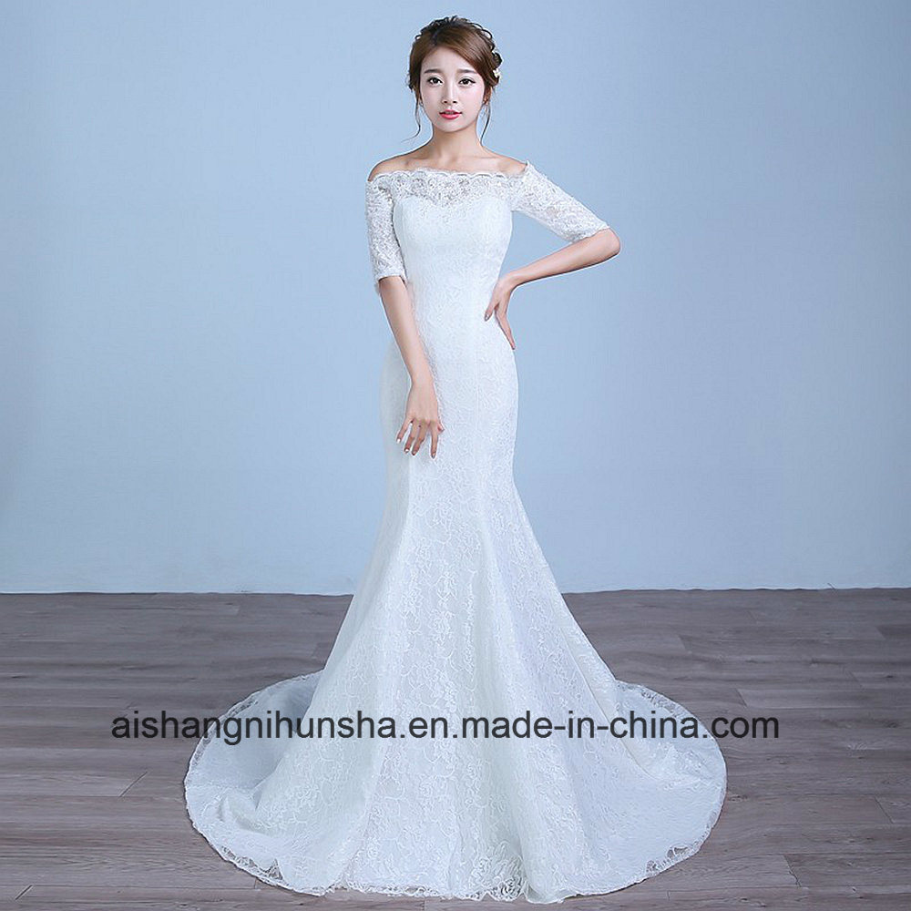 China Lace with Sleeves Mermaid Wedding Dress Boat Neck Wedding Gown ...