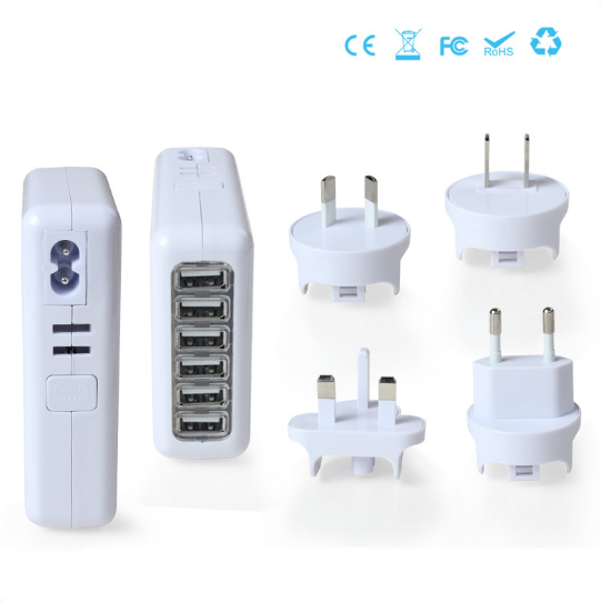 6 Ports Travel Charger Portable Charger Wall Charger Interchangeable Plugs Charger 5V=8A pictures & photos