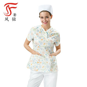 76c2f3d611c Medical Scrubs China Hospital Uniforms Pastel Floral Customized Embroidery  for Women Good Quality with Multi - Pocket