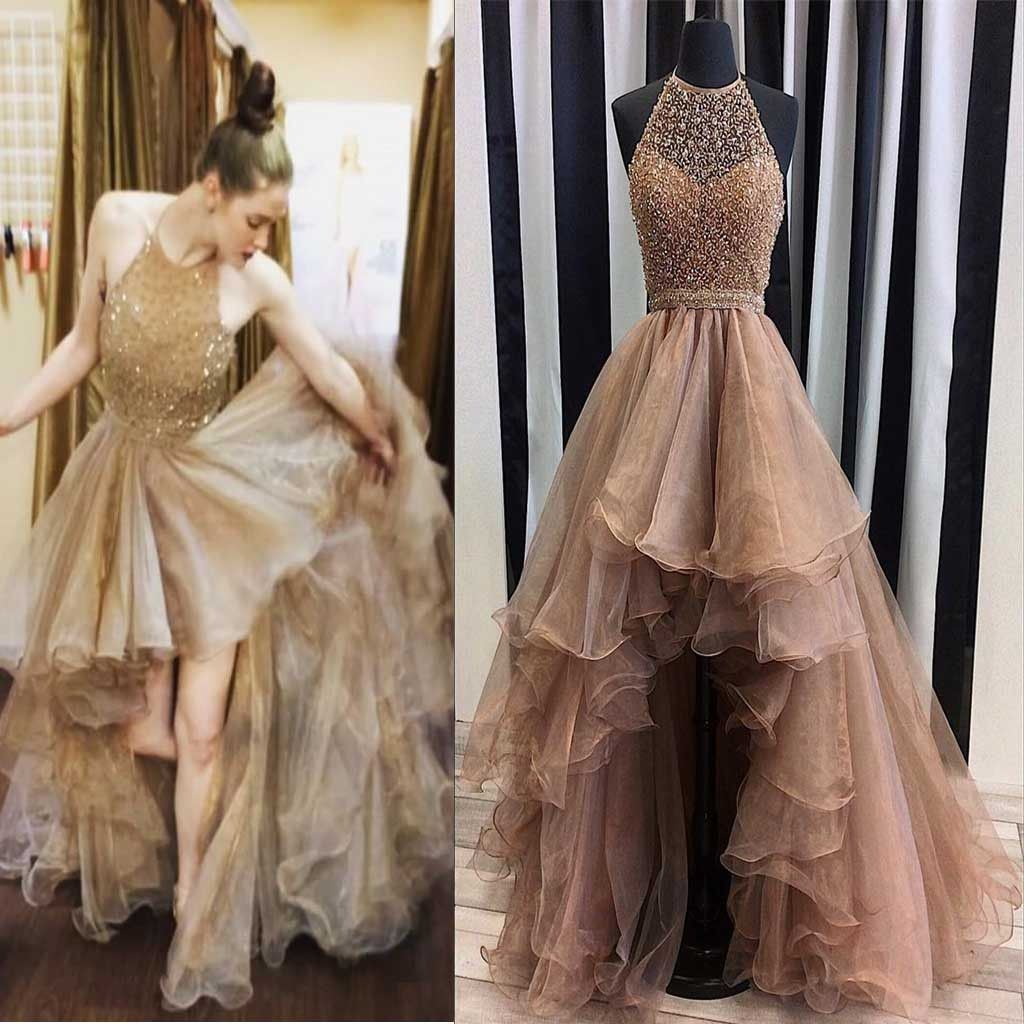 China Halter Prom Cocktail Dresses Sleeves Beaded Organza Hi-Low ...