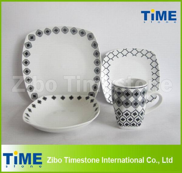 16PCS Modern Decal Design Ceramic Square Dinner Set