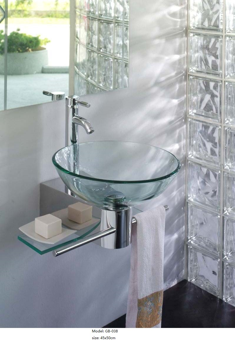 China Clear Glass Wash Basin with Shelf - China Sanitary Ware, Glass ...