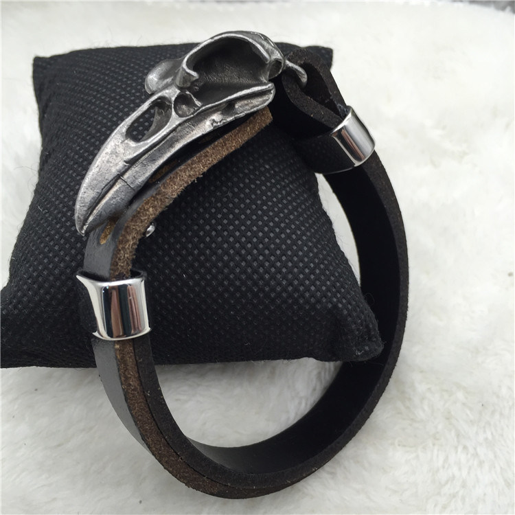 Persistent Skull Braided Brown leather Bracelet Stainless steel Magnetic Clasp